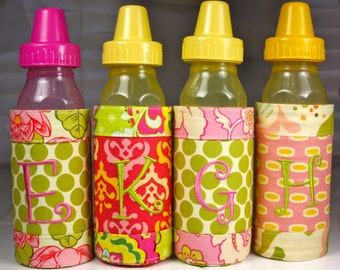 Insulated Baby Bottle Koozies Designer Fabrics & Personalized with Initials New Baby and Toddler Gifts
