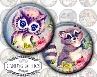 Vintage Forest Animals 2 - Digital Collage Sheet - 1x1 inch Circles - Great for Bottle Cap Pendants - Buy 2 Get One FREE