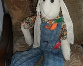 Hand Crafted People Sized Muslin Cotton Rabbit Bunny 3 1/2'- 4' tall Character