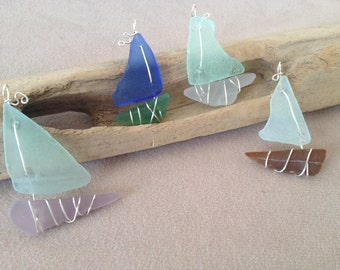 Sea Glass Sailboat Pendant Sterling Silver Wire Wrapped Beach Chesapeake Bay Maryland Eastern Shore Nautical Pendant
