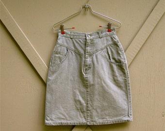 80s vintage Khaki Green High Waist Skirt