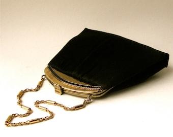 50s vintage Elegant Andé Black Satin Evening Bag with matching Coin Purse