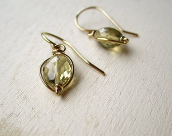 Champagne quartz bead earrings wrapped in gold filled wire
