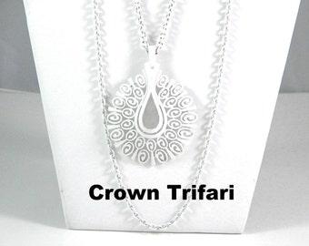 Crown Trifari White Enamel Double Chain an Pendant Necklace Vintage Jewelry