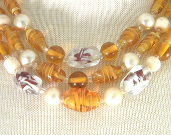 Japan Triple Strand Amber Colored Art Glass Bead Necklace Vintage Jewelry
