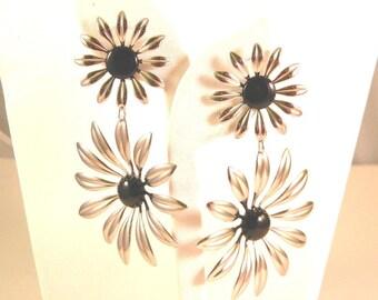 Runway Huge Silver tone and Black Flower Dangling Vintage Earrings