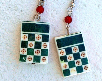 Portugal  Antique Tile Replica Earrings,  Green Nautical -  MURTOSA  - waterproof and reversible 402