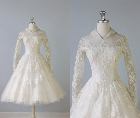 Vintage 1950s wedding dress tea length wedding dress 50s for 1950 wedding dresses tea length