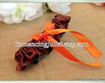 Satin Skirted Satin Bridal Garter...Custom Colors Available..chocolate brown/orange