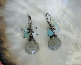 WIRE WRAPED LABRADORITE with Peruvian Opal Earrings