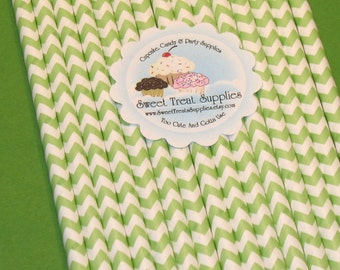 Vintage Green Chevron Striped Straws With DIY Flag Topper  (25)