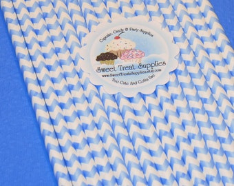 Powder Blue Chevron Stripe Straws With DIY Flag Toppers   (25)