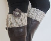 Hand Knitted Boot Cuffs - FLOWER POWER