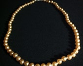 Vintage Costume Champagne Pearl Necklace