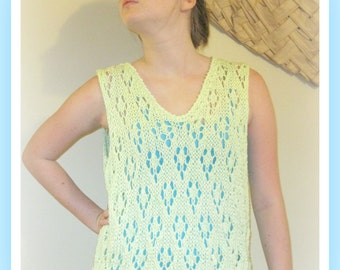 Cotton Top Diamond Pop Over  Knitting Pattern Teen to Adult   XS S M  L XL