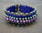 Reserved for Kathi - custom sized Embellished Peyote Stitch Bracelet - Blue and Purple