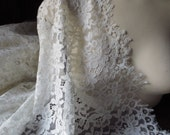 SAMPLE Chantilly Lace Fabric in Ivory for Bridal Gowns, Mantilla Veils, Garments CH 12