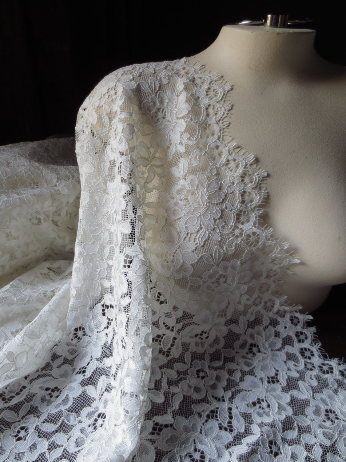 Sample chantilly lace fabric in ivory for bridal gowns for Wedding dress fabric samples