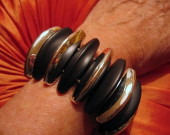 SILVER and BLACK Recycled Vintage Stretch Glamour Bracelet