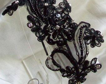 Rush,Black Headband,Black Wedding Headband,Black Lace Wedding,Wedding,Bridal Accessories,Bridal Headband