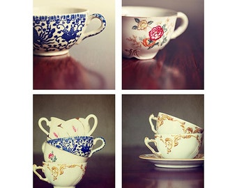 Tea Party for 4 - Set of 4 Still Life Photography, tea cup decor, kitchen wall art, coffee antique cups, gold, white, red, bedroom decor