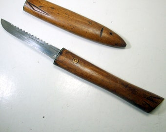 Carved wood cased fish knife 1970s serrated stainless for Japanese fish knife