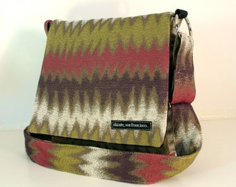 "SALE. Hip Bag in ""Mauve"". Soft Fall colors - mauve, heather, moss, white. Cross body bag. Travel bag. Made in San Francisco."