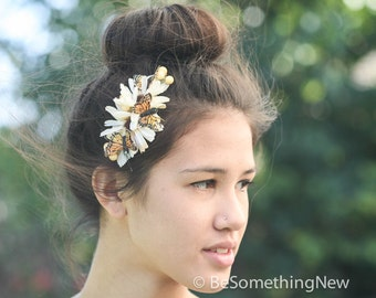 Monarch butterfly and daisy comb, women hair accessories