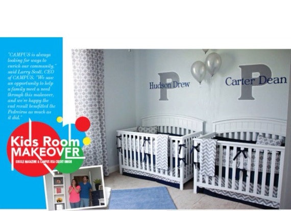 Crib Bedding Set Gray White Navy Blue