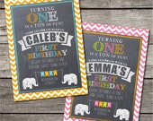 PRINTABLE Elephant themed first birthday party invitation