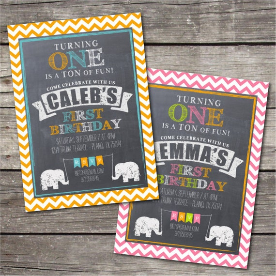 Items Similar To PRINTABLE Elephant Themed First Birthday