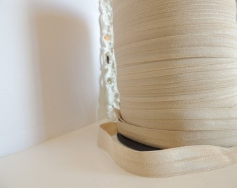 "5/8"" Inch Fold Over Elastic - 5 Yards of Monroe Bisque FOE"