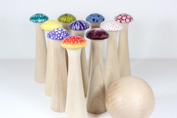 Mushroom Bowling - Wonderland - Wood Toy Bowling Game - IN STOCK