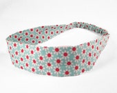"Fabric Headband - Aqua Daisy - Pick your size - fit toddlers to adults - 1-1/2"" wide"