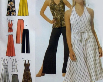 Misses halter dress pattern, summer dress, halter top and dress, pants and skirt patterns, Simplicity 4998 in sizes 14, 16, 18, 20, UNCUT
