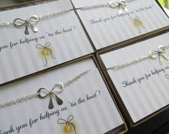 sterling Silver bow bracelet, tie the knot bracelet, set of 9 thank you for helping us tie the knot card, Bridesmaid jewelry