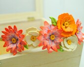 Colorful whimsical flowery headband in different pastel and bright colors