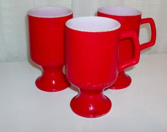 3 Red Glazed Milk Glass Footed Mugs