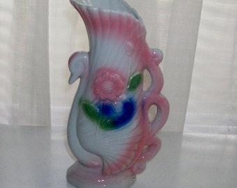 Pink and Blue Swan Vase
