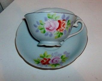 Pink Rose on Blue China Cup and Saucer Set