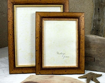 6x8 Rustic Brown Wood and Gold Photo Frame