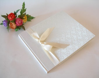 Guest book unlined - ivory brocade with satin ribbon -8x9in 20x23cm - Ready to ship