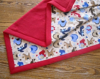 SALE Baby Boy, Toddler Blanket, Flannel and Fleece Blue, Brown and Red Dinosaurs with Red Fleece Back 32x40""