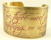 Shakespeare Jewelry Dramatic Macbeth Literary Quote Brass Cuff Bracelet - In Thunder, Lightning, or in Rain