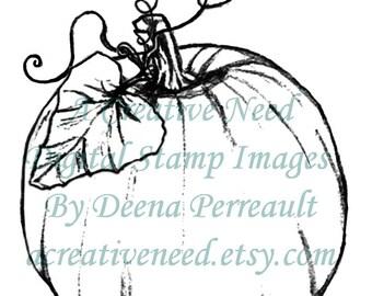 INSTANT DOWNLOAD Digital Stamp Image PUMPKIN