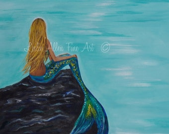 "Mermaid Art Print Mermaid Painting Print Mermaid Wall Art Ocean Fantasy Art Print Seascape ""Mermaids Crescent Moon"" Leslie Allen Fine Art"