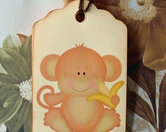 Tags Baby Shower Vintage Style Gift Tags Wish Tree Tags Monkey TB015