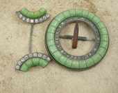 Vintage Hand Cut Jade Art DECO Sash buckle & hatpin paste rhinestones