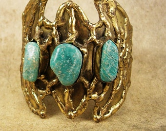 Reserved for sher Vintage Bat Bracelet HUGE turquoise winged cuff modernist