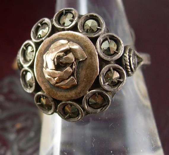 Antique Russian Rose Gold ring sterling with sweetheart flower OOAK